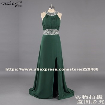 vestidos de formatura chapel train long plus size prom dress 2016 silver bading green chiffon gowns custom made prom dresses