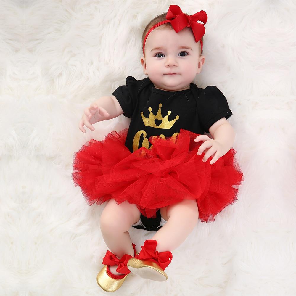 a1cb42a4d Faldas tutú rojo corona manga corta mamelucos ropa de bebé conjunto ropa  infantil Niña Zapatos de ...