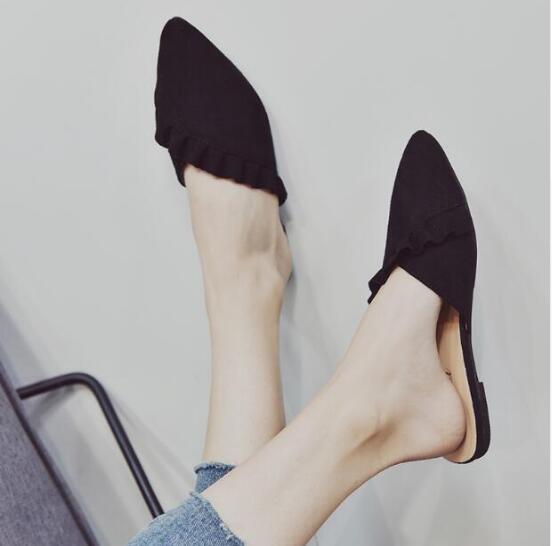 XCZJ Women flat Slipper summer shose women 2018 lace half slippers Pointed toe sexy flip flops student flat Mueller shoes woman