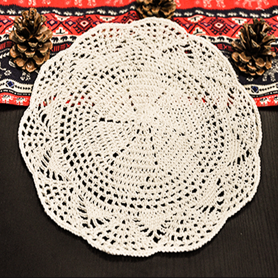 25X25CM Shabby Chic Multi Color Vintage Crocheted Doilies Handmade Crochet Coasters Cotton Lace Cup Mat Placemat 2PCS/SET DIY