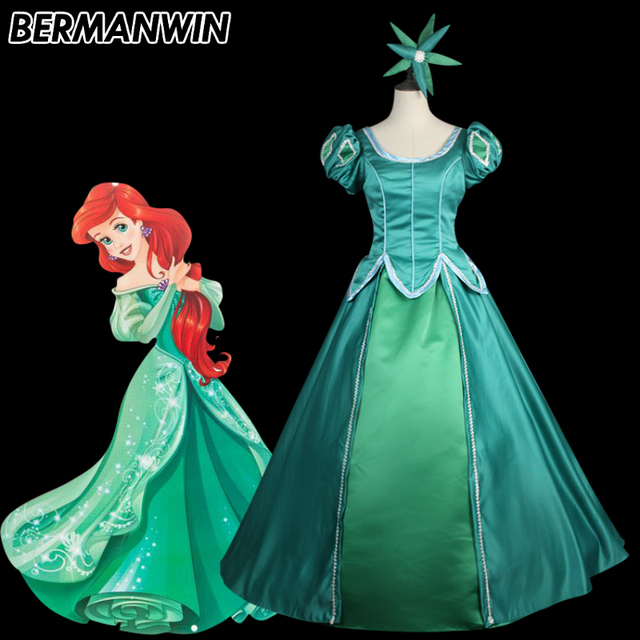 e14299df2c BERMANWIN High Quality The little Mermaid Princess Ariel adult costume  green Ariel dress with headwear Halloween Cosplay Costume