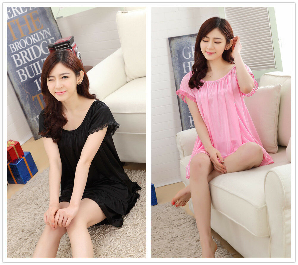 Pure Color Smooth Silk Women Sleepwear Pajama Set Nightwear Shirt Shorts 2Pcs in Pajama Sets from Underwear Sleepwears