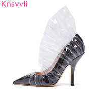 Black Satin High heels Woman Moon Pattern Sexy Pointed Toe Transparent Flounce Stiletto Runway Party Shoes For Women