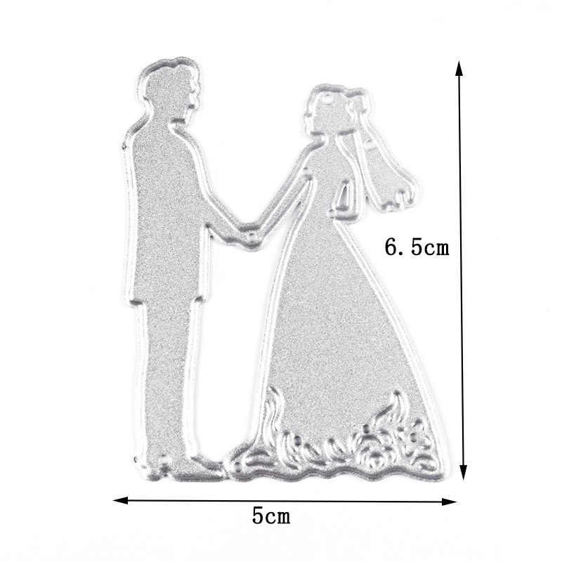 novio recortes manualidades metal tarjetas boda herramienta de regalo 2# ropa Troqueles de corte para novia plantilla decoraci/ón en relieve plantilla SpirWoRchlan /álbumes