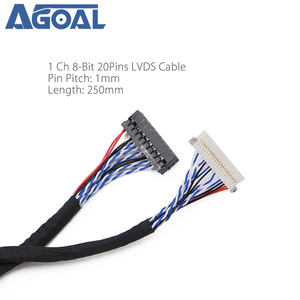 Universal 20Pin DF19-20-D8 1ch Signal 8 Bit LCD Screen Driver Board Line LVDS Screen Cable 1mm pin pitch 250mm