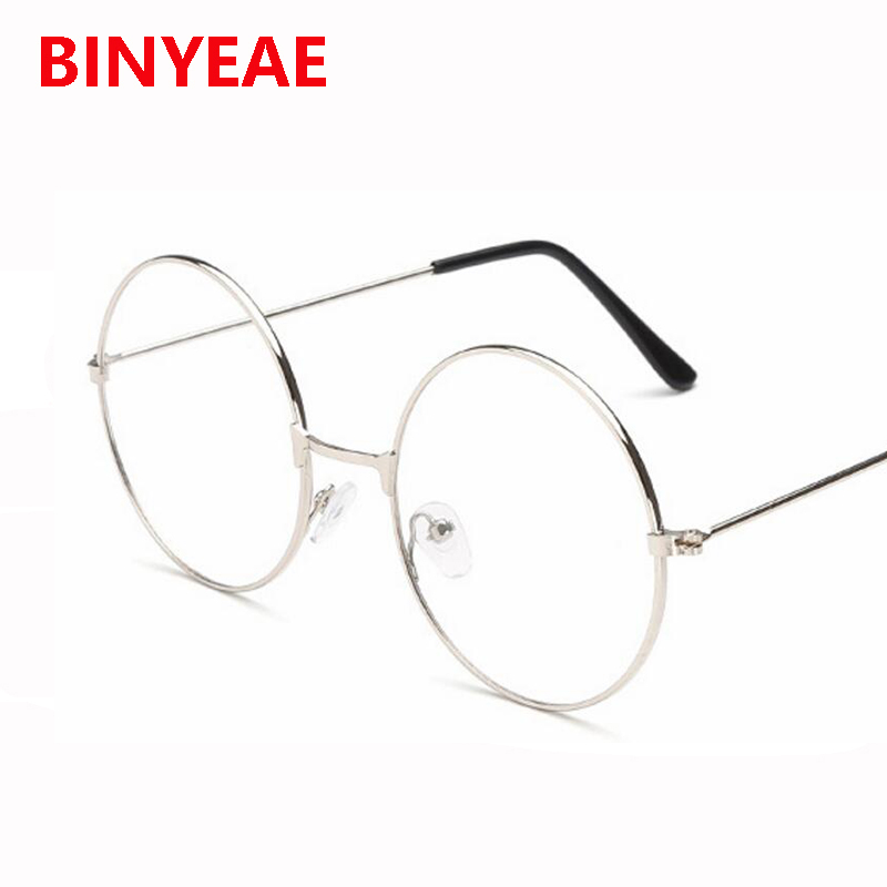 Clear Lens Oversized Huge Large Round Glasses Gold Metal Eyeglasses ...