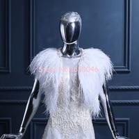 FOLOBE Blanco de Plumas de Avestruz Wedding La Chaqueta Nupcial Mantones de La Manera de Las Mujeres Del Cabo de la Novia Del Bolero de Invierno Otoño Abrigos Para Las Mujeres