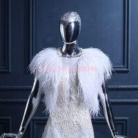 FOLOBE White Ostrich Feather Wedding Bridal Jacket Women Fashion Shawls Bride Cape Bolero Winter Autumn Wraps For Women