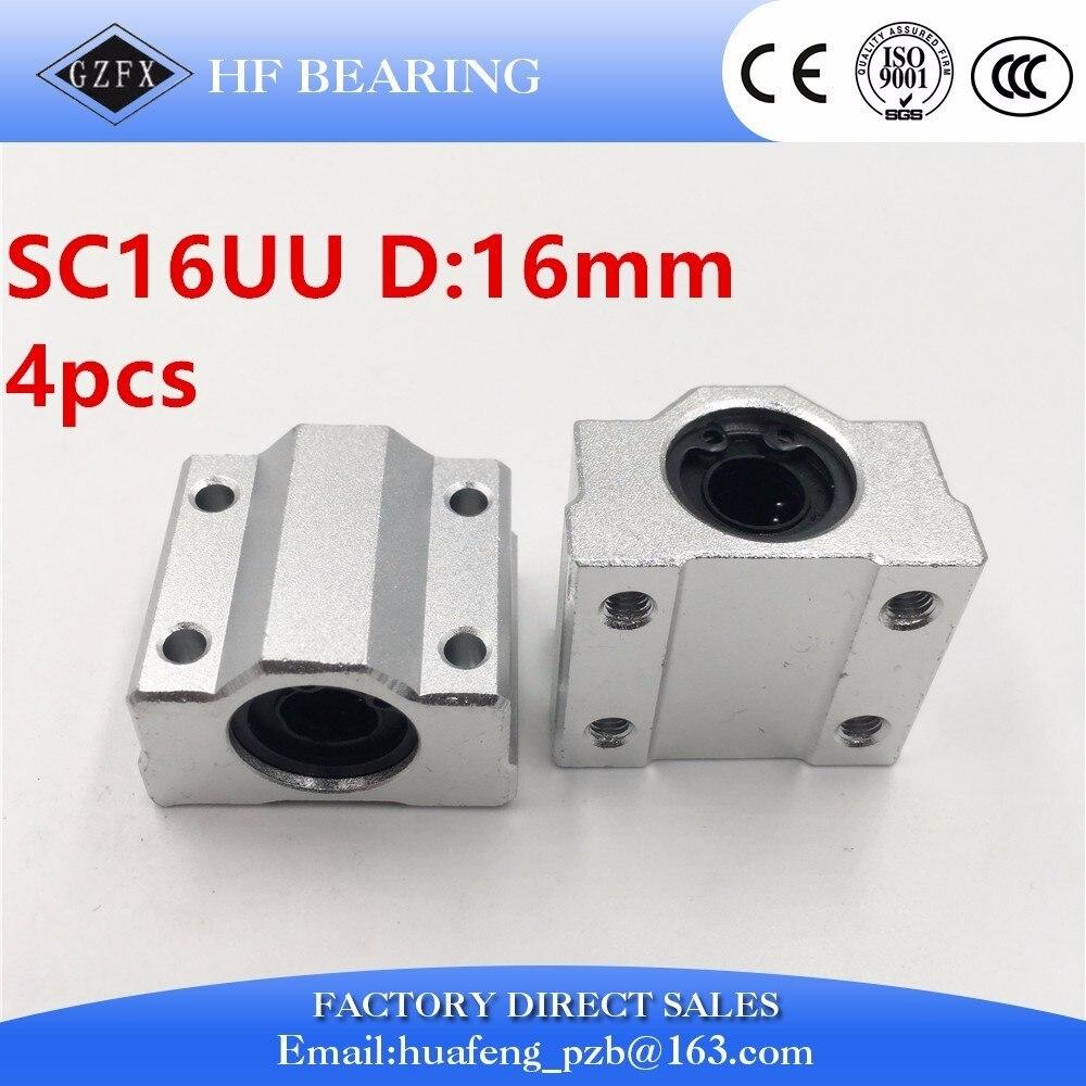 4 pcs/lot SC16UU SCS16UU 16mm linear ball bearing block pillow block for cnc parts SC16 8pcs lot sc16uu scs16uu 16mm linear ball bearing linear motion bearing slide for cnc brand new