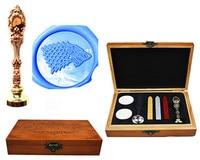 Vintage Wolf Direwolf Custom Luxury Wax Seal Sealing Stamp Brass Peacock Metal Handle Sticks Melting Spoon