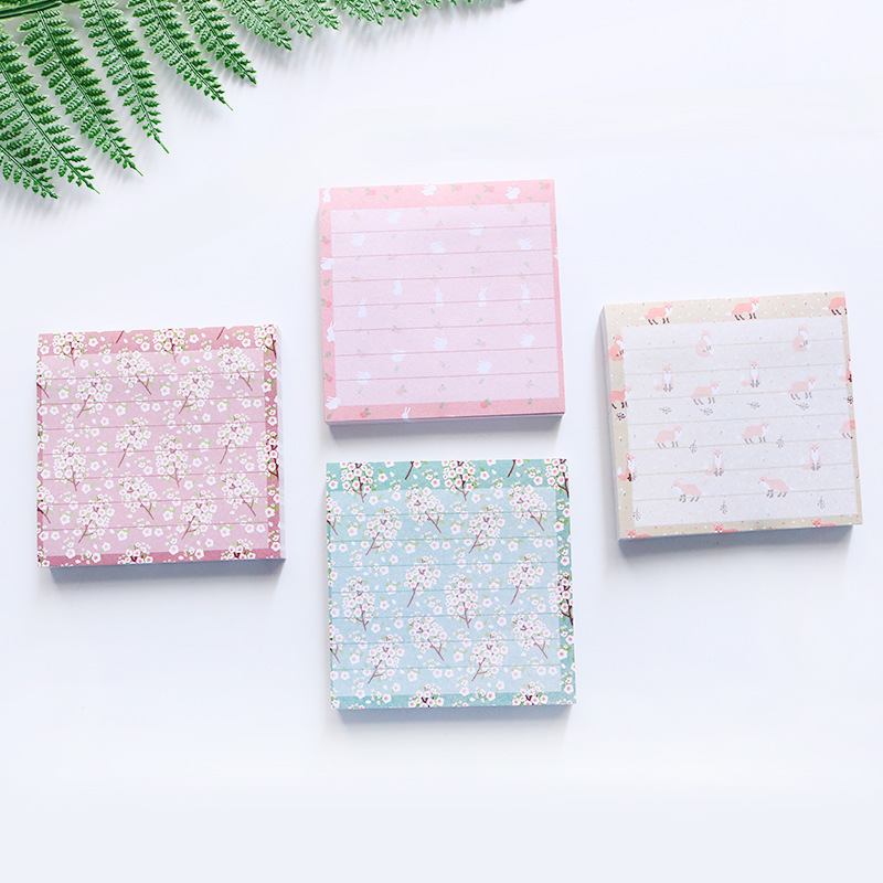 80 Sheets Kawaii Fox Rabbit Post it Memo Pad Flower Sticky Notes Self-Adhesive Notepad School Office Stationery Supplies 01962