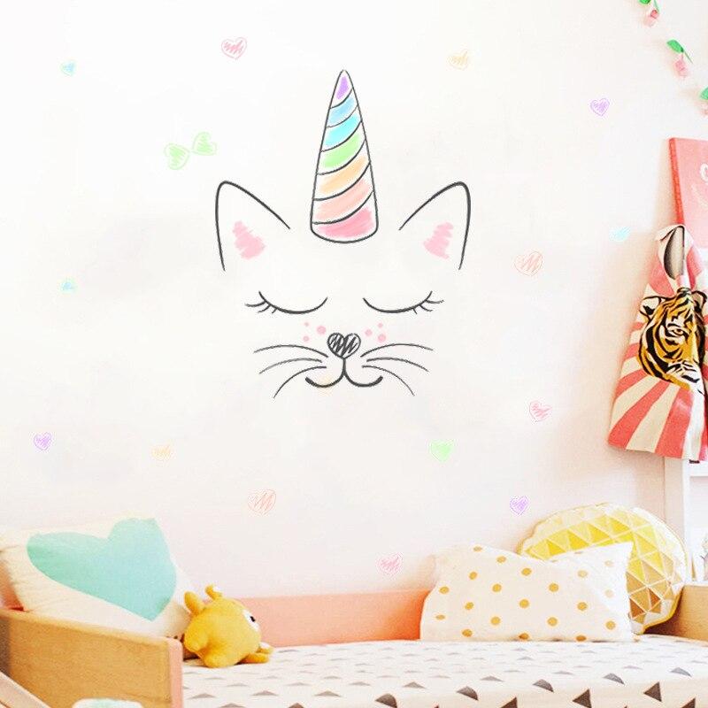 % 3d Pvc Cartoon Nette Unicorns Stern Herz Katze Wand Aufkleber Nordic Stil Kinder Zimmer Wohnzimmer Decor Diy Home Wand Abziehbilder Aufkleber