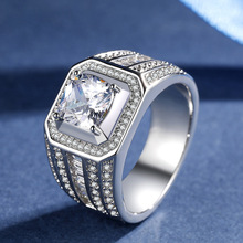Clear Huge Square Cubic Zircon Mens Ring White Gold Color Wedding Male Fashion Jewelry Size 7-12
