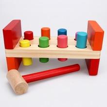 лучшая цена Baby Wooden Noise Maker Knock Ball Kids Hand Hammering Ball Box Kids Early Learning Educational Toys Montessor Christmas Gift