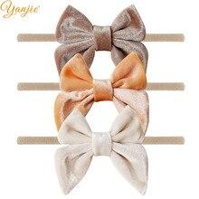 12 sztuk/partia 3 aksamitna łuk nylonowe opaski dla dziewczynek gładka aksamitna Hair Bow elastyczna Skinny Khaki Nylon pasma włosów...