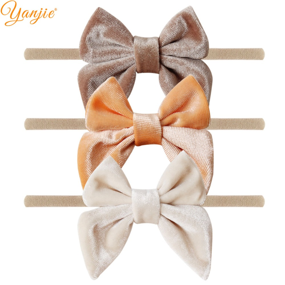 12pcs/lot 3'' Velvet Bow Nylon Headbands For Girls Smooth Velvet Hair Bow Elastic Skinny Khaki Nylon Hair Band Hair Accessories-in Hair Accessories from Mother & Kids