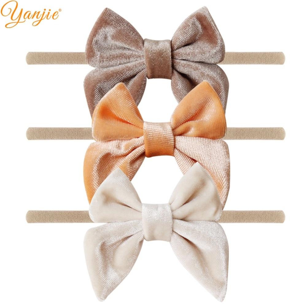 12pcs/lot 3'' Velvet Bow Nylon Headbands For Girls Smooth Velvet Hair Bow Elastic Skinny Khaki Nylon Hair Band Hair Accessories