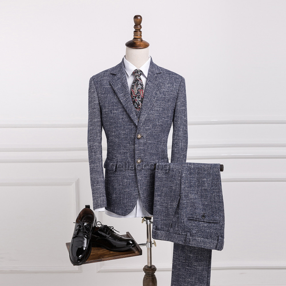 Geliaocong 2017 Wełna Szary Slim Fit Smokingi Garnitury Ślubne Dla Mężczyzn Jodełkę Tweed Retro Gentleman Style Custom Made Mężczyzna Kurtka