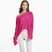 Vintage Knitted Drop Shoulder Mustard Sweater for Women Cute Ladies Cosy Loose Knit Rose Pink Pullover Jumper Oversized