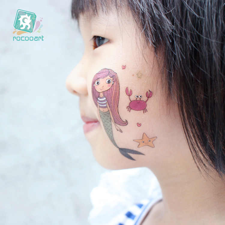 Sereia Dos Desenhos Animados Etiqueta Do Tatuagem Rocooart Música Meninos Meninas Falsa Tatuagem Body Art Tatuagem Temporária Adesivos Super Hero Tatouage Taty