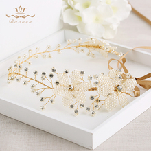 Bavoen Wedding Handmade Silver Hairbands Brides Korean Soft Pearls Tiara Headwear Crystal Hair Jewelry