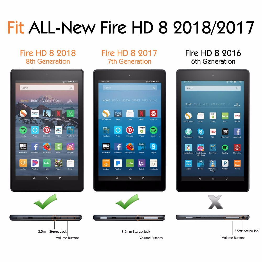 8th Gen 2018 //7th Gen 2017 3-Pack Ultra-Clear Screen Protector for Fire HD 8