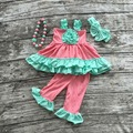 2016 new girls clothes baby kids summer suit mint green foral ruffles brace capris boutique  with matching bow and necklace set