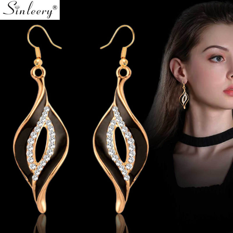 SINLEERY Charm White Black Enamel Earrings For Women Gold Leaf Drop Earrings Female Fashion Jewelry ES524