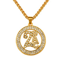Rap Jewelry Accessories 18k Yellow Gold Plated Iced Out Bling 2PAC Round Diamond Pendant Necklace Charm