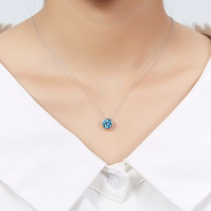 Image 2 - Hutang 1.65ct Blue Topaz Womens Pendant, Solid 925 Sterling Silver Chain Natural Gemstone Fine Elegant Jewelry for Gift New