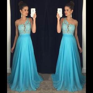 Bridesmaid Dresses Weddings Chiffon Long Lace Blue Cheap Summer of for Under-100 One-Shoulder