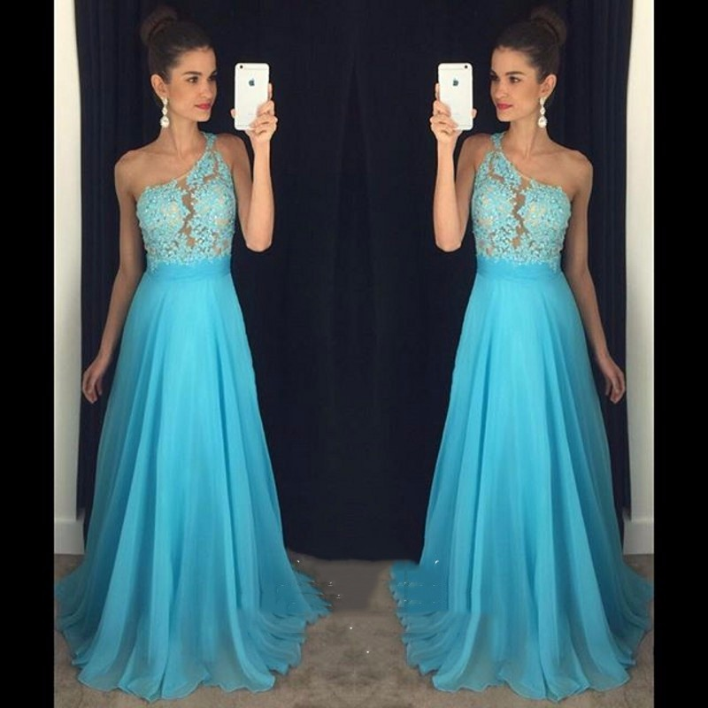 Cheap Under 100 Long   Bridesmaid     Dresses   2019 Summer Blue Chiffon Lace Beaded One Shoulder Maid Of Honor   Dresses   For Weddings