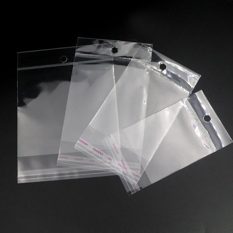 дешево!  100шт прозрачный пластиковый OPP повесить самоклеющиеся мешочки подарок ювелирный мешок и упаковка Лу�