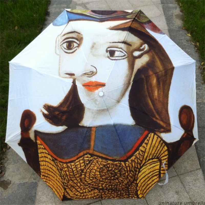 Picasso Oil Painting Anti-UV 3 Folding Personalized Umbrella Rain Women Ladies Umbrellas Black Coating