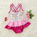 Baby Girl Verão Nadar Terno Uma Peça Conjunto Vestido de Praia Coração Rosa Swimwear Criança Miúdos Bonitos Swimwear S2011