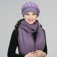 faba8e23 2pcs Middle Aged Rabbit Hair Hat Elderly Knitted Wool Cap Lady Winter  Mother Grandma Thickening Warmth