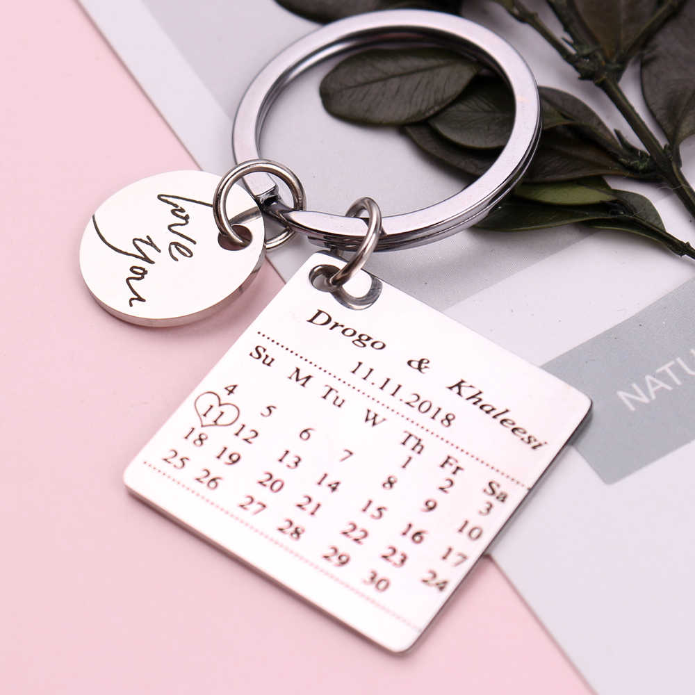 Personalized Calendar Keychain Stainless Steel Customized Calendar  Anniversary Date Highlighted with Heart Love You Letter