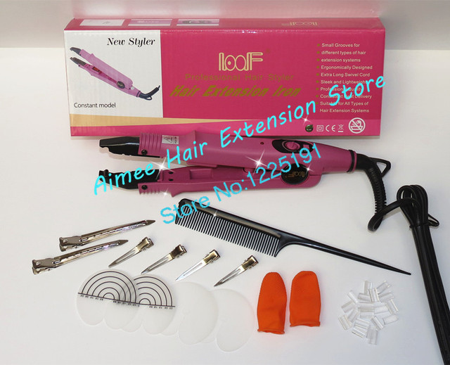 Free shipping Pink Loof Hair Extension Fusion Iron L-611-Control Hair Extension Tool Kits