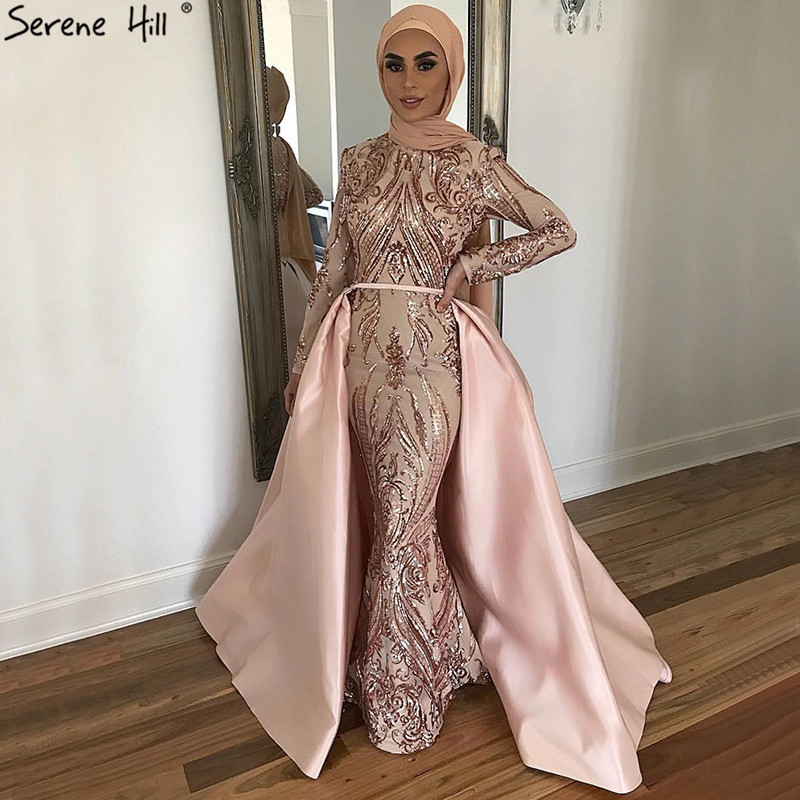 Dubai Peach Luxury Mermaid Vintage Evening Dress Sequined Long Sleeves With Train Evening Gowns 2019 Serene Hill LA6613
