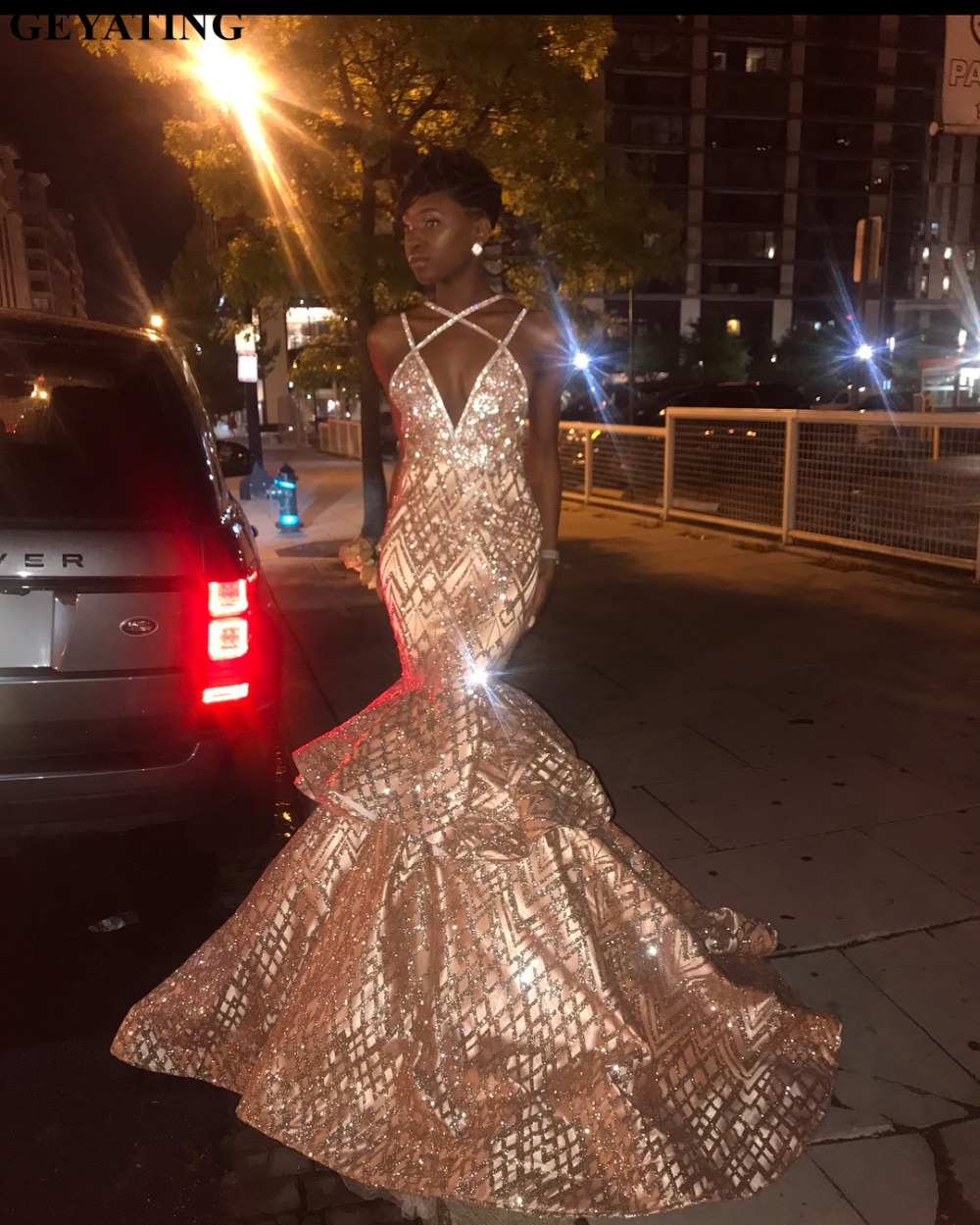 Glitter Sequin Rose Gold Mermaid African   Prom     Dresses   2019 Long Black Girls Spaghetti Straps Tiered Puffy Backless Evening   Dress