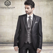 LN020 High Quality Wedding Suits 2 Buttons Groom Tuxedos Edge Silver Groomsmen Suit Custom Made Men