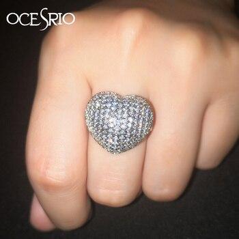149754a0aba2 OCESRIO nuevo 2019 AAA Zircon amor anillo de corazón de plata para las  mujeres Zirconia cúbica grande vestido de anillo de joyería de mujer