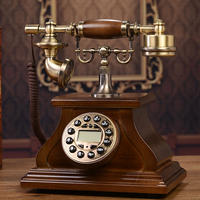 European style wooden antique telephone telephone retro home phone caller ID of an old fashioned phone