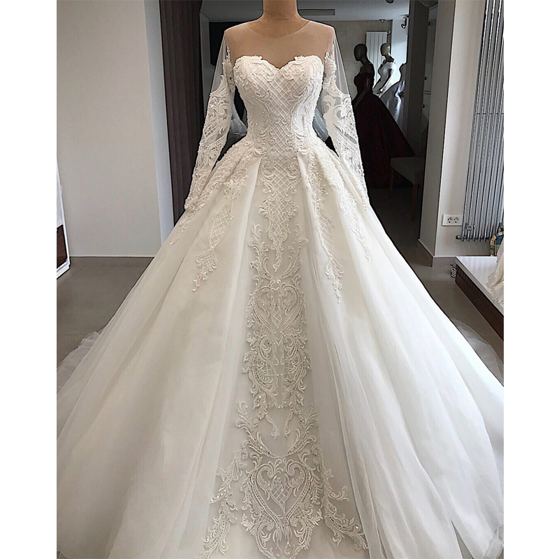 Robe De Mariee Luxury Customized Embroidery Beading Sequined Wedding Dress 2019 Button Illusion Wedding Gowns Chapel Train Dress