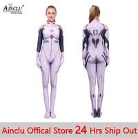 Anime Women Girls Ayanami Rei Jumpsuits Cosplay Costume Neon Genesis Evangelion Unisex One Piece Fullbody Zentai Lycra Bodysuit