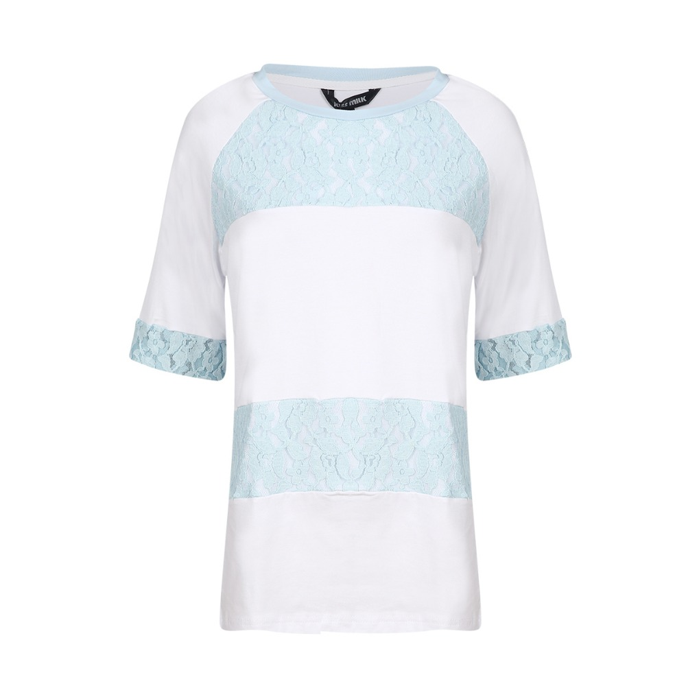 Kissmilk Plus Size Women New Fashion Big Large Size 1 2 Length Sleeve Lace Casual Contrast Slim T shirt 3XL 4XL 5XL 6XL in T Shirts from Women 39 s Clothing