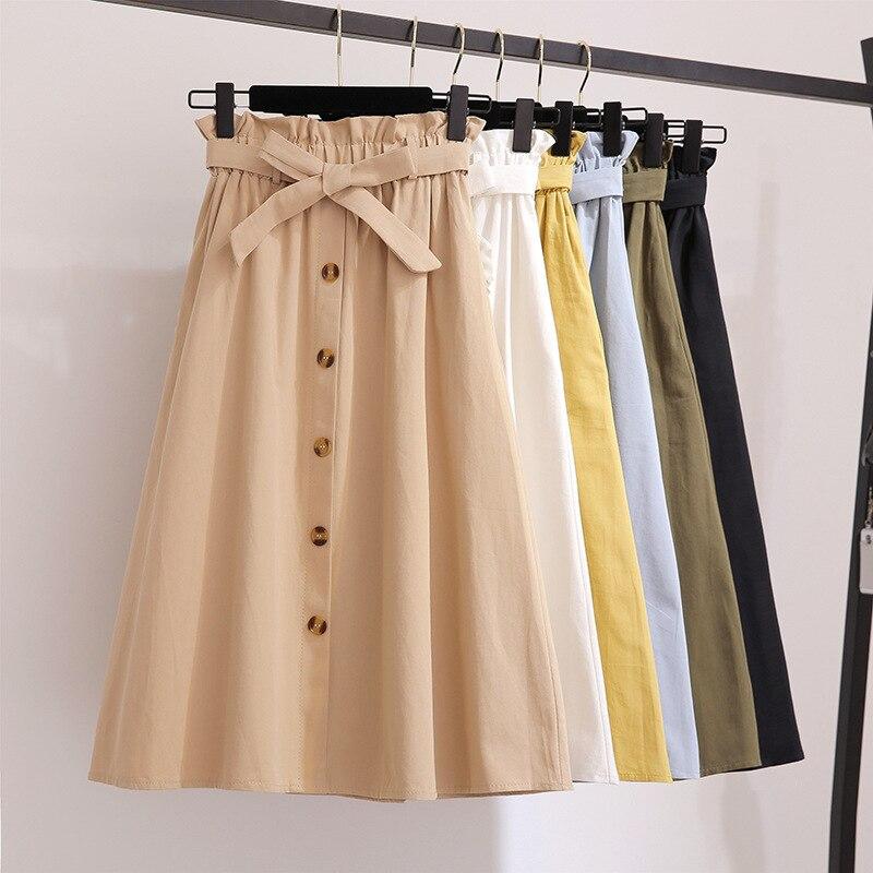 Single Buckled Bow Solid Cotton Skirt Women For Summer 2019 Slim Retro Black Skirts Women Belt Pocket Yellow Knee Length Skirt