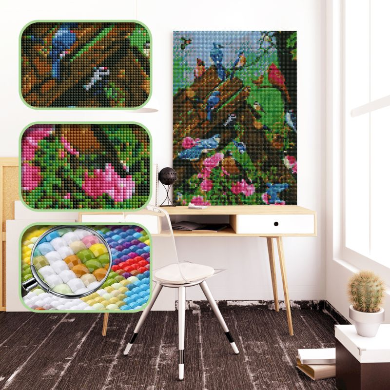 1Set Bird DIY 5D Full Drill Resin Diamond Painting Square Embroidery Cross Stitch Kit Rhinestone Unique Home Decor Crafts