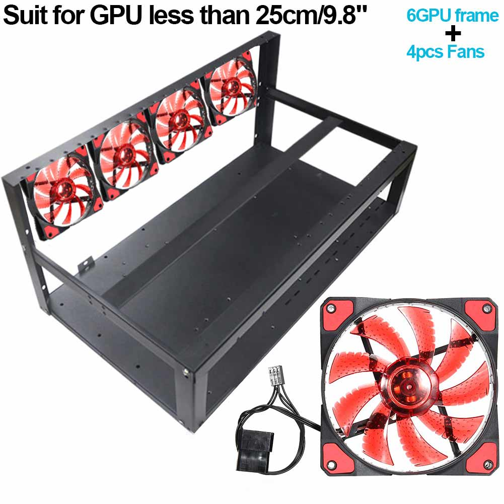 Steel Coin 6 GPU Mining Rig Aluminum Case /4 Fans for ETH ZEC/Bitcoin fit under 25cm GPU XXM8 prypto bitcoin for dummies