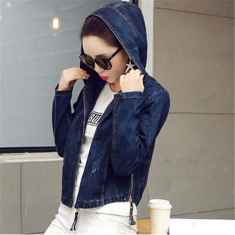 2018 Women   Basic     Jacket   Coat Hooded Outwear Slim Short Warm Overcoats Jeans Denim Female Coats